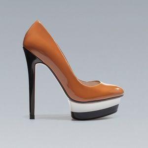 Zara Woman Color Block Platform Stiletto Heels